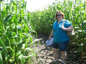 Walking through a local corn maze.  This is BEFORE we had been lost for an hour so the energy was still very high!