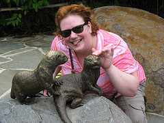 Touching the otter statues at the National Zoo in DC