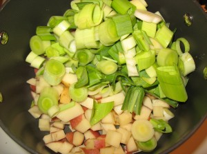 Sliced and Diced leeks and potatoes in a pot