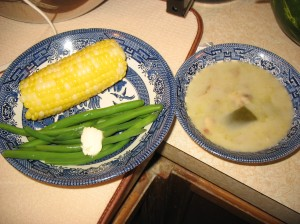 corn, beans and soup