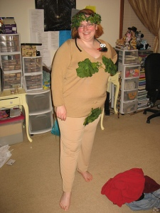"myself as ""eve"" with fake snake and leaves"