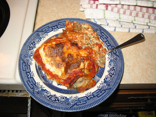 lasagna on plate