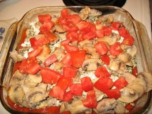 mushroom and tomato layer
