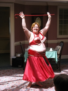 Cane Dance in Red Cabaret Belly Dance Costume