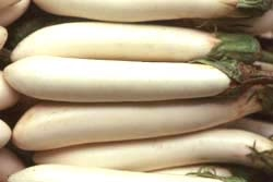 Long, thin, white eggplant
