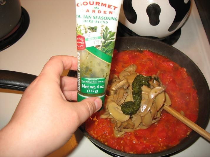 add mushrooms and seasonings