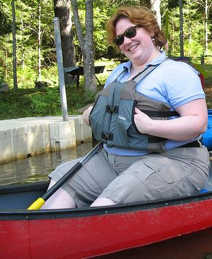 In a canoe with a lifejacket