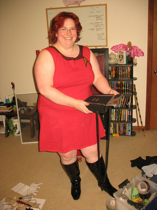 tall black boots and star trek outfit