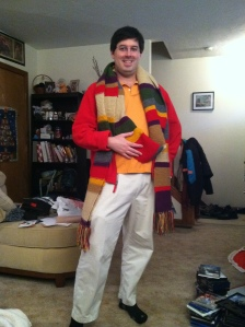 Adam D sporting the 13-foot-long Tom Baker Dr. Who Scarf